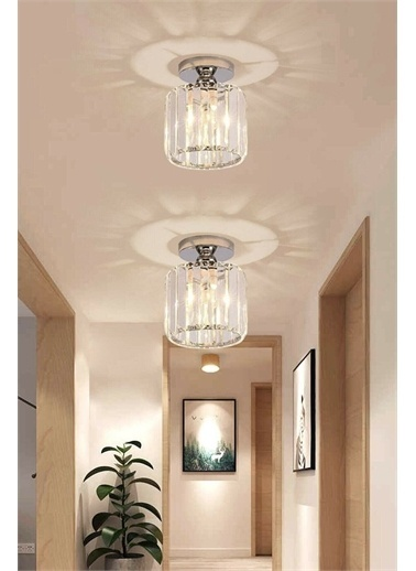 Öztürk Avize & Cam Modern Plafonyer Kristal Taşlı Krom Avize Gümüş